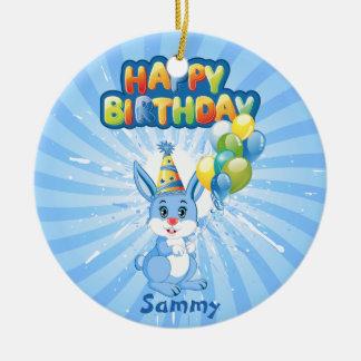 Blauer Häschen-Geburtstags-Cartoon Keramik Ornament