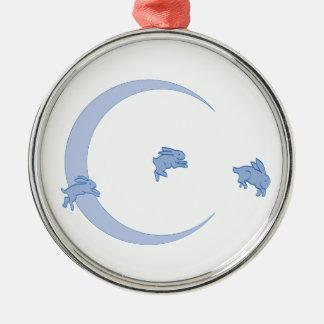 Blauer Häschen-Mond Rundes Silberfarbenes Ornament