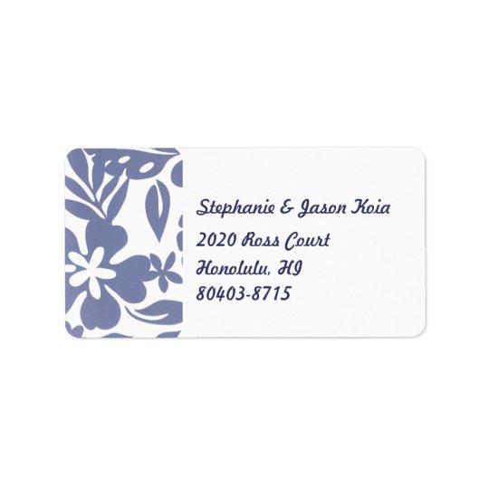 Blauer Hawaii-Rücksendeadresse-Aufkleber Adressaufkleber