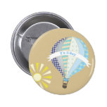 Blauer Heißluft-Ballon-Babyparty-Knopf Anstecknadel
