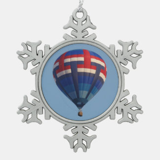 Blauer Heißluft-Ballon Schneeflocken Zinn-Ornament