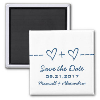Blauer Herz-Gleichungs-Save the Date Magnet Magnets