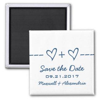 Blauer Herz-Gleichungs-Save the Date Magnet Quadratischer Magnet