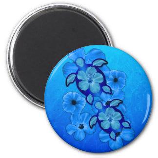 Blauer Hibiskus und Honu Schildkröten Magnete