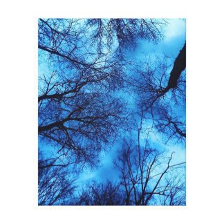 Blauer Himmel auf schwarzer Baum-Leinwand-Kunst Leinwanddruck