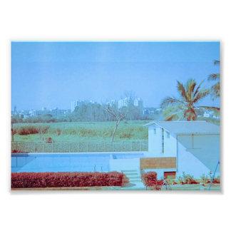 Blauer Himmel mit grünem Feld Fotodruck