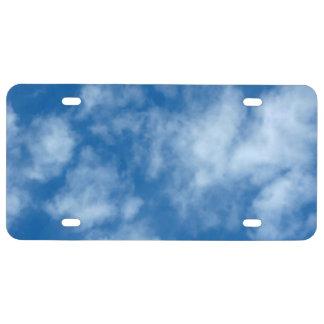 Blauer Himmel mit Wolken-Foto-Lizenz-Platte US Nummernschild