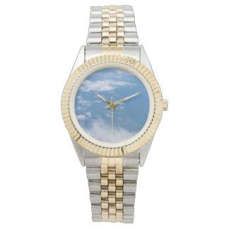 Blauer Himmel mit Wolken-Uhrenarmband Armbanduhr