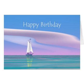 Blauer Himmel-Segeln-Geburtstag Grußkarte