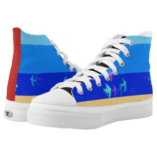 Blauer Himmel und Vögel Hoch-Spitze Turnschuhe Hoch-geschnittene Sneaker