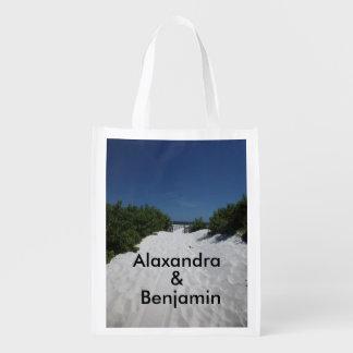 Blauer Himmel ~ weiße Sand-Taschen-Tasche Wiederverwendbare Einkaufstasche