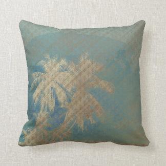 Blauer Hintergrund palmtree Gold des Kissens Zierkissen