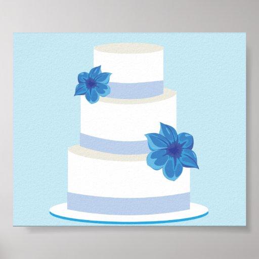 Blauer Hochzeits-Reihe-Kuchen Poster