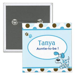Blauer Hündchen-Babyparty-Namensschild-Knopf