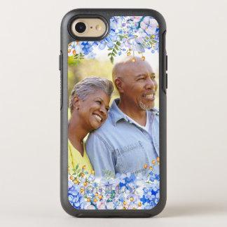 Blauer Hydrangea-BlumenFoto-Grenze OtterBox Symmetry iPhone 7 Hülle