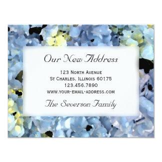 Blauer Hydrangea-neue Adresse Personalisierte Ankündigungskarte