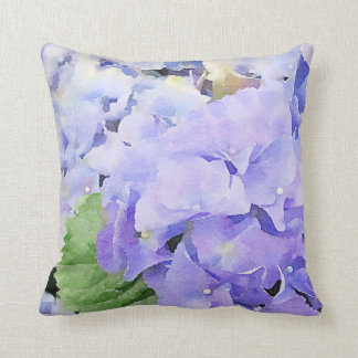 Blauer Hydrangeas-Aquarell-Entwurf Kissen