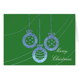 Blauer Imitat-Glitzer-frohe Weihnachten Karte
