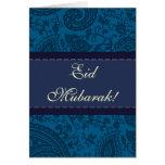 Blauer indischer Damast Eid Mubarak Grußkarte