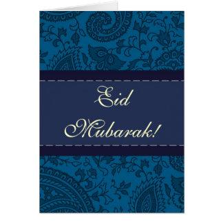 Blauer indischer Damast Eid Mubarak Karte