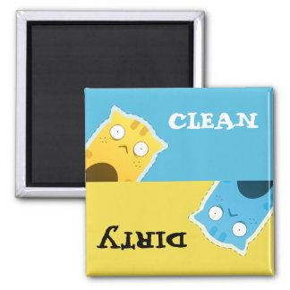 Blauer Ingwer-Katzen-Spülmaschinen-Magnet Quadratischer Magnet