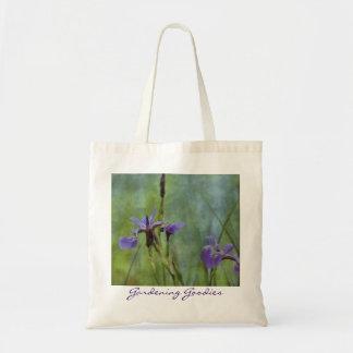 Blauer Iris-Impressionist-Blumenim garten Tragetasche