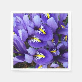 Blauer Iris-Miniaturfrühling mit Blumen Papierserviette
