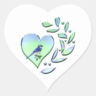 Blauer Jay-Liebhaber Herz-Aufkleber