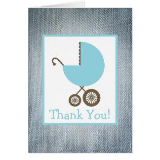Blauer Jean u. blaue Wagen-Babyparty danken Ihnen Grußkarte
