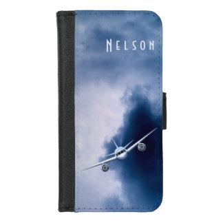 Blauer Jet-Flugzeug-Flugzeug-Fliegen im iPhone 8/7 Geldbeutel-Hülle