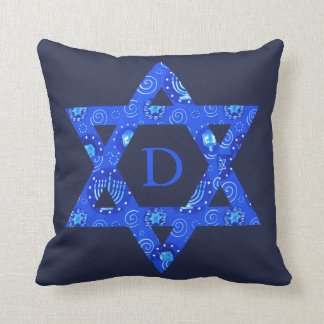 Blauer jüdischer Davidsstern den Raum Jungen mit Kissen