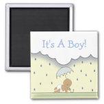 Blauer Jungen-Babyparty-Magnet-Regen u. Regenschir Kühlschrankmagnete