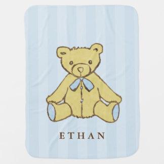 Blauer Jungen-Bär personalisiert Kinderwagendecke