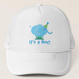 Blauer Jungen-Elefant-Geschlecht decken Babyparty Truckerkappe