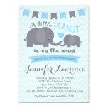 Blauer Jungen-Erdnuss-Elefant-Babypartyeinladung 12,7 X 17,8 Cm Einladungskarte