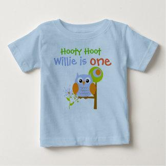 Blauer Jungen-Eulen-personalisierter Geburtstags-T Baby T-shirt