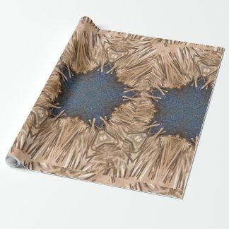 Blauer Kaleidoskop-Stern-Flechtweiden-Hintergrund Geschenkpapier