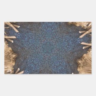 Blauer Kaleidoskop-Stern-Flechtweiden-Hintergrund Rechteckiger Aufkleber