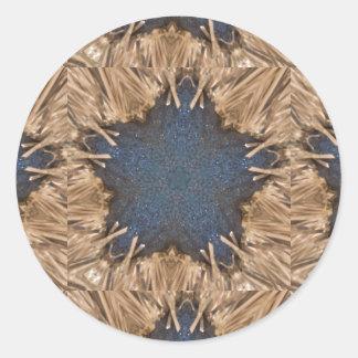 Blauer Kaleidoskop-Stern-Flechtweiden-Hintergrund Runder Aufkleber