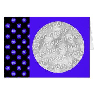 blauer Kaleidoskopmuster-Fotorahmen Karte