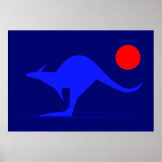 Blauer Känguru Poster