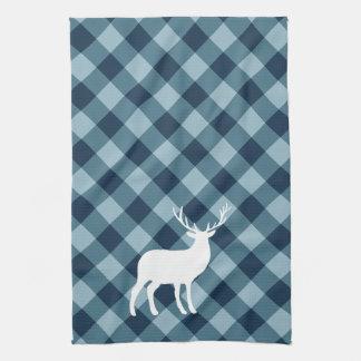 Blauer karierter und weißer Feiertag des Hirsch-| Handtuch