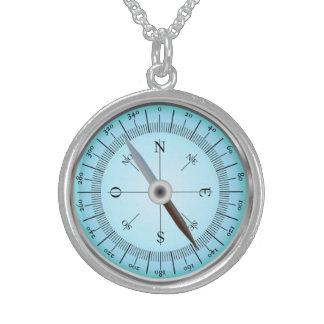 blauer Kompass Sterlingsilber Halskette