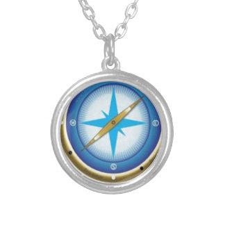 Blauer Kompass Halskette Mit Rundem Anhänger