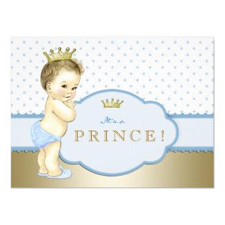 Blauer königlicher Prinz Babyparty 16,5 X 22,2 Cm Einladungskarte