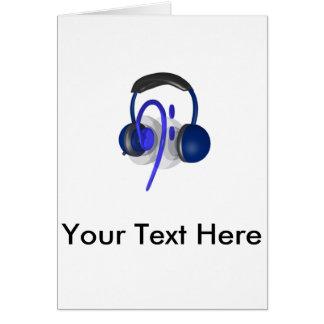 Blauer Kopfhörer, der irgendeinen Baß spielt Karte