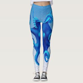 Blauer Kraken-Pop Leggings