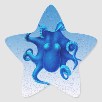 Blauer Kraken-Pop Stern-Aufkleber
