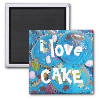 """Blauer Kuchen""""ich Liebe-Kuchen"""" Kühlschrankmagnet"""