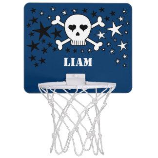 Blauer kundengerechter niedlicher Namensschädel Mini Basketball Netz
